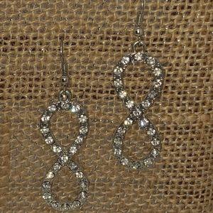 silver bling infinity hanging earrings